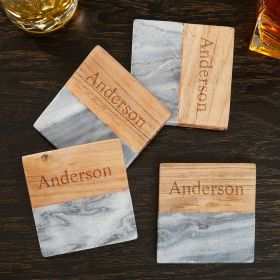 Personalized Acacia & Marble Coasters (Engravable)