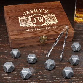 Marquee Engraved Black Onyx Whiskey Stones Gift Set