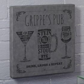 Modern Spirits Gray Leatherette Canvas Custom Bar Sign