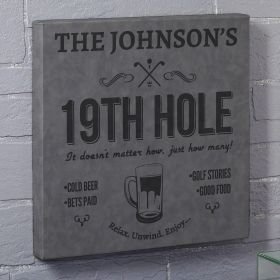 Nineteenth Hole Gray Leatherette Custom Bar Sign - Gift for Golfer