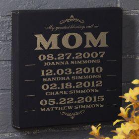 Mom's Greatest Blessings Custom Black Leatherette Canvas - Gift for Mom