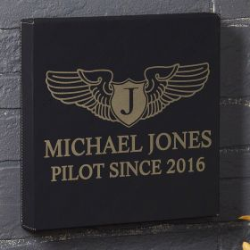 Take Flight Personalized Black Leatherette Canvas - Gift for Pilots
