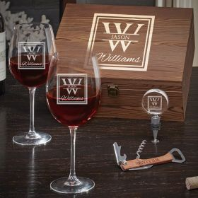 Oakhill Custom Wine Glass Box Set – Gift for Wine Lover