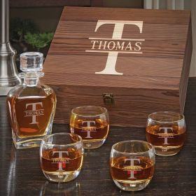 Oakmont Engraved Whiskey Draper Decanter Set with Uptown Glasses