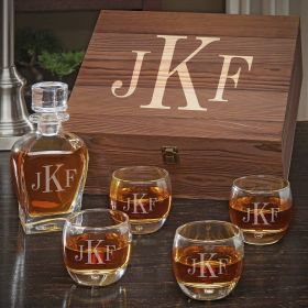 Classic Monogram Personalized Liquor Draper Decanter Set with Uptown Glasses