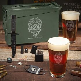 Police Badge Personalized .30 Cal Ammo Can Set - Gift for Police