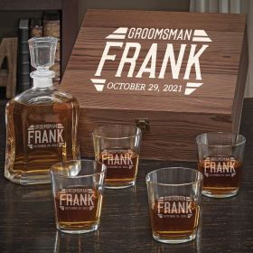 Bradshaw Argos Decanter Personalized Whiskey Gift for Groomsmen with On the Rocks Glasses