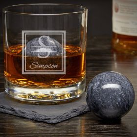 Oakhill Personalized Rocks Glass with Whiskey Spheres