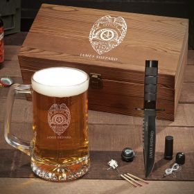 Police Badge Personalized Beer Box Set - Gift for Police
