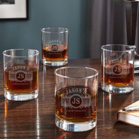 Marquee Eastham Personalized Whiskey Glasses, Set of 4