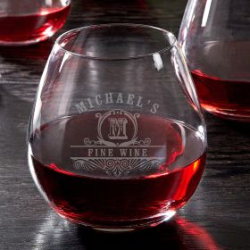 Carraway Personalized Stemless Wine Glass