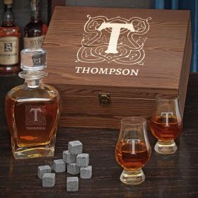 Brannon Personalized Whiskey Gift Set with Glencairn Glasses and Draper Decanter