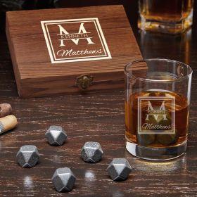Oakhill Personalized Black Onyx Whiskey Stones Set with Eastham Glass