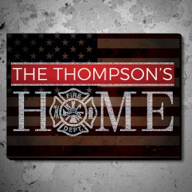 Flags and Honor Personalized Wood Sign - Gift for Firefighters