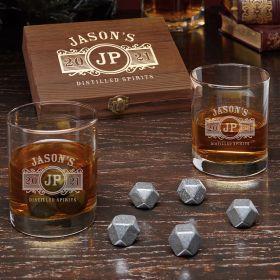 Marquee Custom Black Onyx Whiskey Stones Set with Eastham Glasses