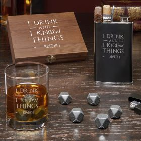 Distinguished Gentleman I Drink & I Know Things Custom Whiskey Gift Set