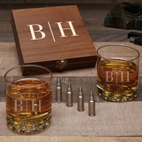 Quinton Personalized Whiskey Gift Set with Bullet Whiskey Stones and Buckman Glasses