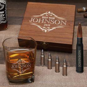 Wilshire Custom Whiskey Bullet Stones & Bottle Opener Set