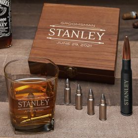 Stanford Personalized Bullet Whiskey Stone Set with Square Glass
