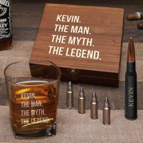 Man, Myth Legend Personalized Bullet Whiskey Stones & Bottle Opener Set