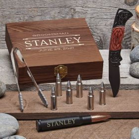 Stanford Personalized Masculine Gift with Bullet Whiskey Stones