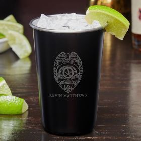 Police Badge Custom Blackout Cocktail Glass – Gift for Police Officers