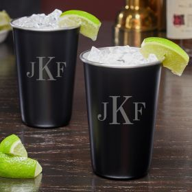 Classic Monogram Blackout Unique Cocktail Glasses