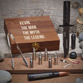 Man Myth Legend Personalized Gift Set for Men with Bullet Whiskey Stones
