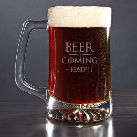 Beer is Coming Custom Beer Mug