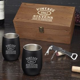 Aged to Perfection Personalized Stainless Steel Wine Tumblers Gift Set