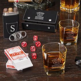 Game Night Aged to Perfection Custom Whiskey Glasses & Black Cigar Set