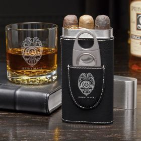 Police Badge Custom Cigar Case and Buckman Glass - Gift for Cops