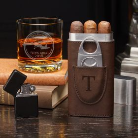 Aviator Custom Buckman Whiskey Glass & Cigar Holder – Gift for Pilot