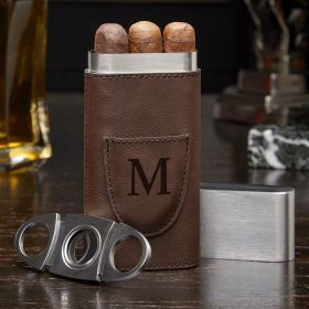Monogrammed Travel Cigar Case with Cigar Cutter