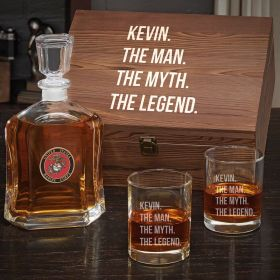 Man Myth Legend Custom Argos Decanter Box Set with Eastham Glasses – Gift for Marines