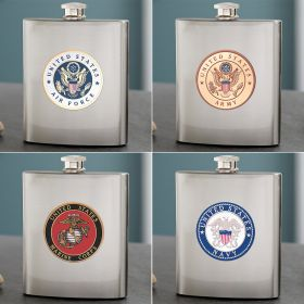 Military Crest Flask for Army, Navy, Air Force, or Marines
