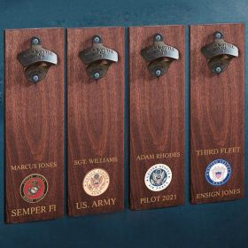 Military Crest Personalized Wall Mounted Bottle Opener Military Gift - 4 Styles