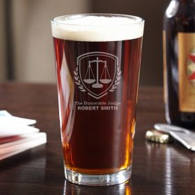 Liberty Scale Engraved Pint Glass - Gift for Judges