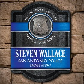 Honor Duty Courage Police Thin Blue Line Custom Sign - Gift for Police Officers