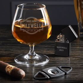 Fremont Engraved Cognac Glass and Cigar Gift Set