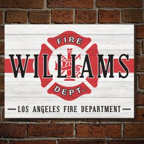 Classic Fireman Personalized Wooden Sign - Firefighter Gift Idea