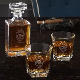 Police Badge Custom Liquor Decanter Set with Colchester Glasses - Gift for Police Officers