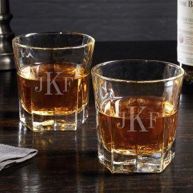 Classic Monogram Colchester Glass Set of Custom Whiskey Glasses