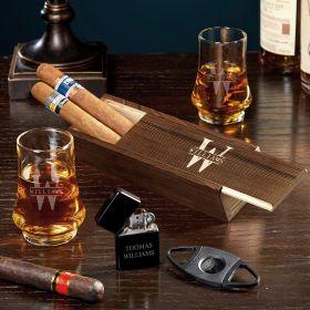 Oakmont Engraved Whiskey and Cigar Gift Set with Duke Glasses