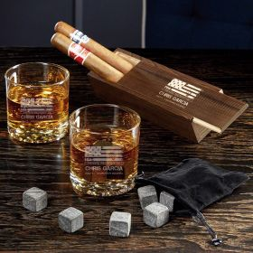 American Heroes Custom Buckman Whiskey Glass Set with Cigar Box - Gift for Military