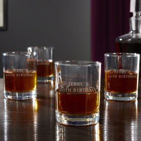 Eastham Personalized Whiskey Glasses, Set of 4