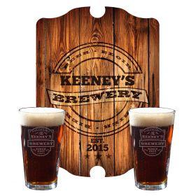 Vintage Brewery Custom Beer Glasses and Sign