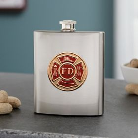 Firefighter Crest Stainless Steel Flask