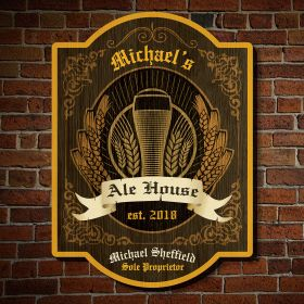Vintage Ale House Personalized Wooden Sign