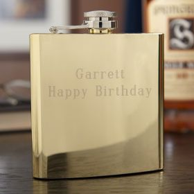 Windsor Gold-Tone Stainless Steel Hip Flask, 6 oz (Engravable)
